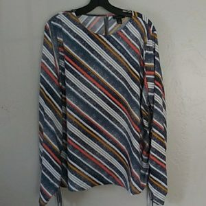 Halogen striped top with rutching Sz. XL
